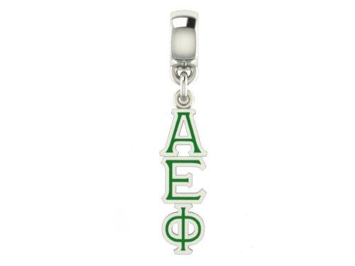 Alpha Epsilon Phi Sorority Enameled Cutout Charm Solid Sterling Silver with Enamel