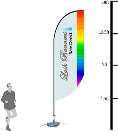 Custom 17ft UV Feather Banner Stand Single Sided - Full Color Hardware Included Poles and Cross Base