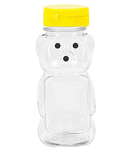 - Clearview Container 24 Pack Honey bear with Flip Top Lid Plastic Squeeze Bear 8 oz Yellow Caps