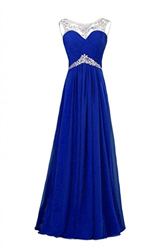 Ouman Tulle Beaded Bridesmaid Evening Party Prom Gown Dress Royal Blue Large