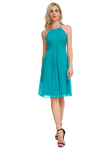 Alicepub Chiffon Bridesmaid Dresses Halter Cocktail Dress Short Homecoming Party Dresses Plus Size, Turquoise, US18 (Turquoise Maxi Dress Plus Size)