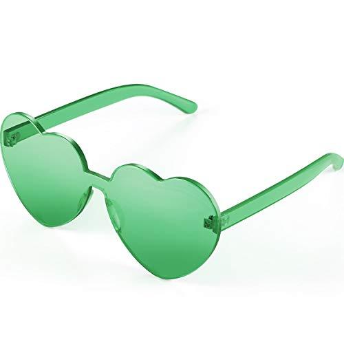 Green Plastic Sunglasses (Maxdot Heart Shape Sunglasses Party Sunglasses)