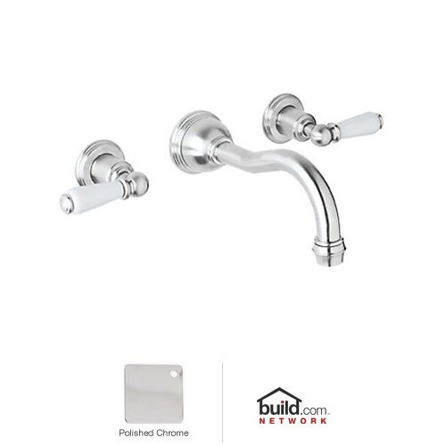 Rohl U.3790L-APC-2 Perrin and Rowe Low Lead Wall Mounted Bathroom Faucet with Lever, Polished Chrome