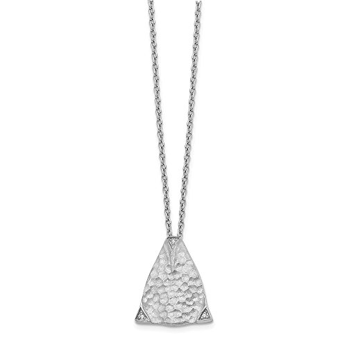 - 925-sterling Sterling-silver SS White Ice Textured Triangle Diamond Necklace