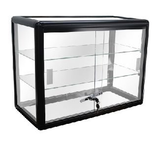 Elegant Black Aluminum Display Table Top Tempered Glass Show Case. Sliding Glass Doors with Lock (Show Door Rack)