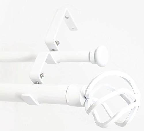 "Urbanest Zeffoli Flat Button 1"" 5/8"" Double Drapery Curtain Window Rod Set - 28"" to 48"", White"