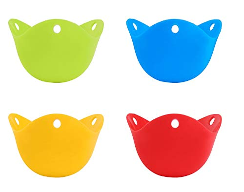 K-Home Egg Poacher, Silicone Egg Poaching Cups for Microwave and Stovetop cooking - Food Grade BPA Free Silicone (4 Pack)