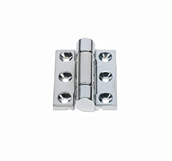 "Friction Hinge with Hole, Zinc Alloy, Chrome, 2-9/16"" Leaf Height, 1-31/32"" Open Width, 26.0 lbs/in Torque per piece (Pack of 1)"