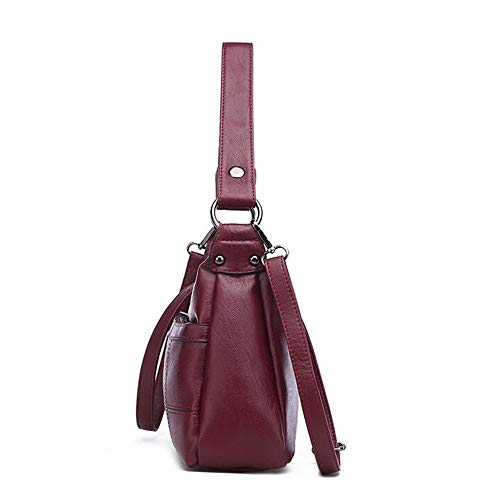 Occasionnel Sac Sac Femme Black Bandoulière à LANGUANGLIN PU Main Red à pour CtnqA