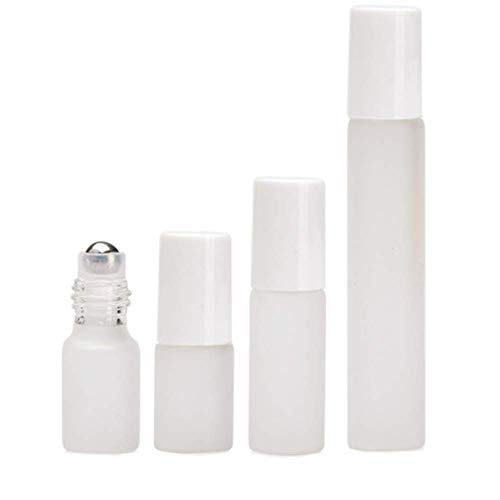 12Pcs Refillable Frosted Glass Roller Bottles Vials Cosmetic Container with Stainless Steel Roller Ball and White Cap for Essential Oils, Aromatherapy, Perfumes and Lip Balms, 3 ml Dropper (10ML)