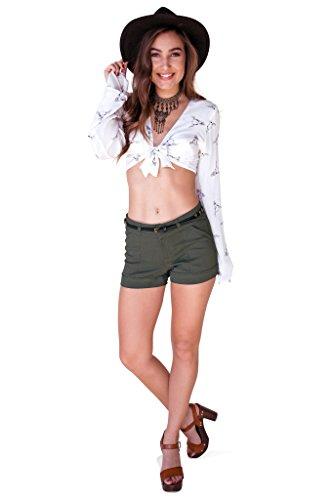 Bebop Juniors Olive/Black Size 11 Stretch 4 Pocket Shorts Removable Belt ()