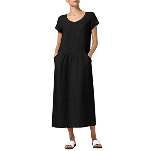 FEDULK Women's Casual Dress Plus Size Round Neck Short Sleeve Summer Pure Colour Simple Long Dress(Black, XXXXX-Large)