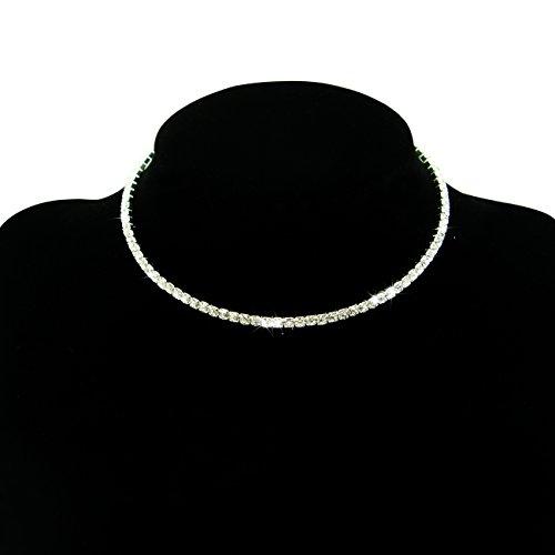 Fit&wit Bridal Wedding Jewelry Crystal Rhinestone Collar Choker Necklace Silver (1-row Cz Rhinestones) (Crystal Wedding Choker Necklace compare prices)