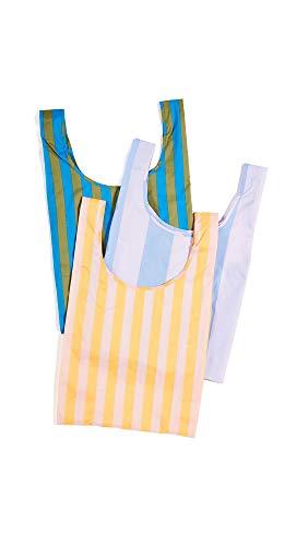 Stripe Marigold - BAGGU Women's Standard Packable Bag Set of 3, Marigold/Cyan/Cornflower, Stripe, One Size