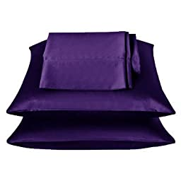 2 Pieces of 350TC Solid Purple Soft Silky Satin Pillow Cases for Full or Queen Pillow
