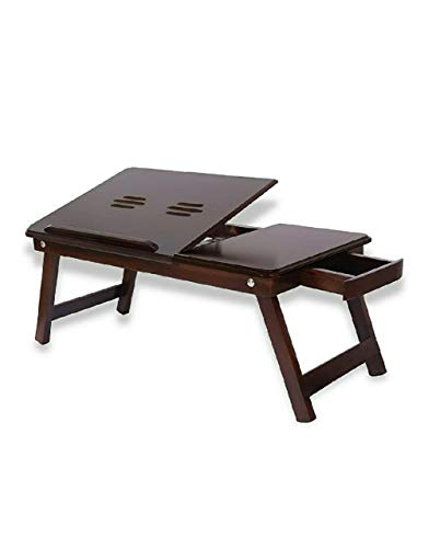 Zaqondigital Wooden Adjustable Study Bed Laptop Multipurpose Table with Foldable Legs and Drawer (Walnut Finish) (Made in India)