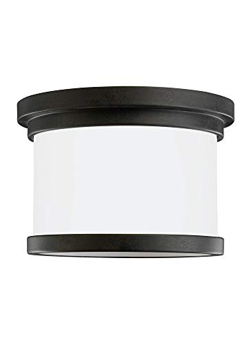 Sea Gull Lighting 78660EN3-185 One Light Outdoor Ceiling Flush Mount Forged Iron