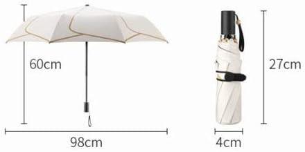 Color : Petal Black HongTeng Sun Umbrella Female Ultra Light Portable Folding Rain Sun Dual-use Umbrella Mini Tri-fold Petal Umbrella Black Beige