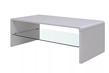 Lovely High Gloss Coffee Table White Home Tables Accents Glass Storage Comfyleads