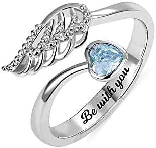 Elsie Lopez Silver Rings Personalized Forever by My Side Angel Wing Ring Sterling Silver 925 for Her Wedding Band Ring Engagement Ring