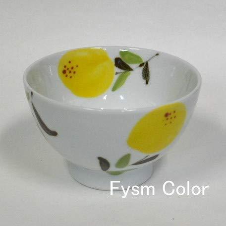 Saikai Pottery Traditional Hasami-yaki Japanese Porcelain Bowl 11cm Made in Japan White Porcelain Yellow Lemon Motif 295-13