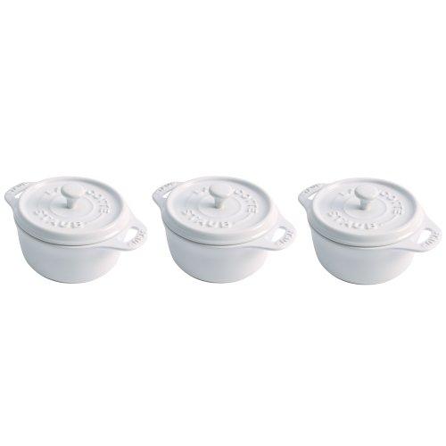 Staub Mini Round Cocotte, Set of 3, White, 0.25 qt. - (0.25 Quart Oven)
