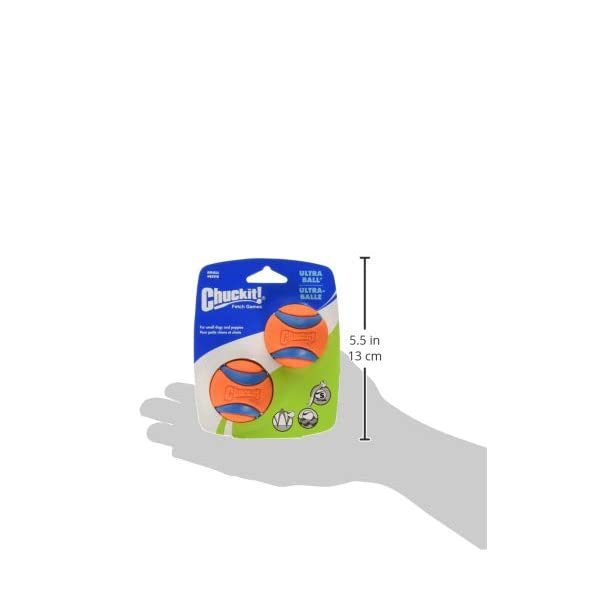 Chuckit Ultra Ball, Durable High Bounce Rubber, Launcher Compatible, 2 Pack, Small 7