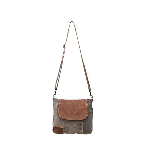 (Myra Bags Flap-Over Upcycled Canvas Shoulder Bag S-0769)