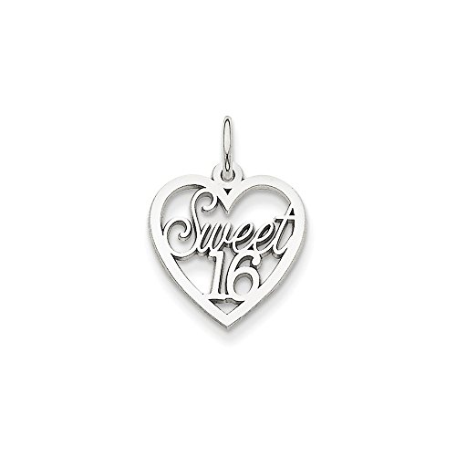 14k White Gold Sweet 16 Heart Charm - Gold Sweet 16 Heart Charm