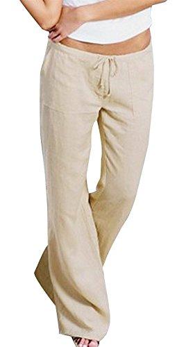 Accogliente Monocromo Vintage Libero Tempo Larghi Donna Cute Allentato Estivi Khaki Pantaloni High Stoffa Eleganti Sciolto Di Pantalone Waist Chic Coulisse Con Fashion x7aPaq
