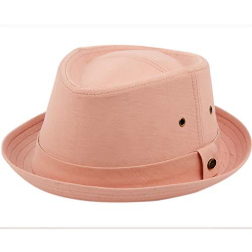Epoch hats Mens Summer Fedora Cuban Style Upturn Short Brim Hat (S/M, F2697PINK)