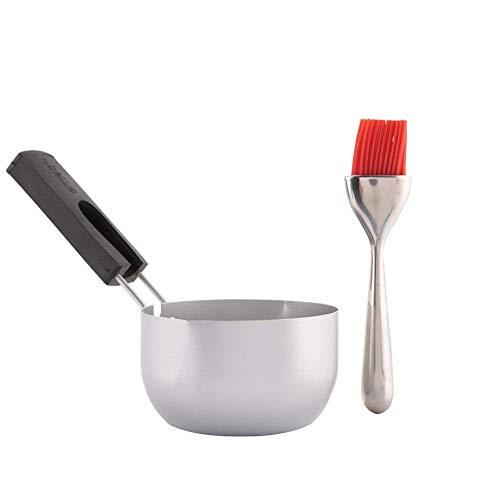 TOPINCN Seasoning Bowl Sauce Pan Stainless Steel Barbecue Brush Seasoning Container Tool Set Basting Pot for BBQ Picnic
