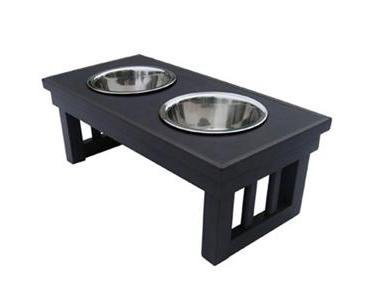 New Age Pet Ecoflex Adjustable Height Double Dog Bowl - Small Espresso