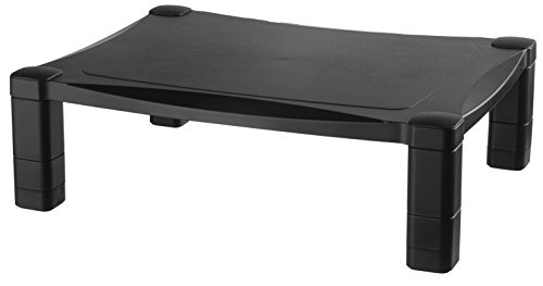 Kantek Single Level Height-Adjustable Monitor/Laptop Stand, 17 X 13 X 3 to 6-1/2 Inches, Black (MS400)