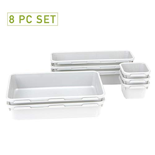 Mind Reader 8INTBOX-WHT 8 Piece Interlocking Multi Purpose Storage bin Organizers, White