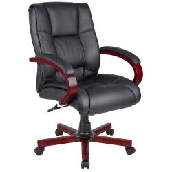 Contemporary Black Upholstery Mid Back Executive Chair - Includes Modhaus Living Pen (Red Cherry ()