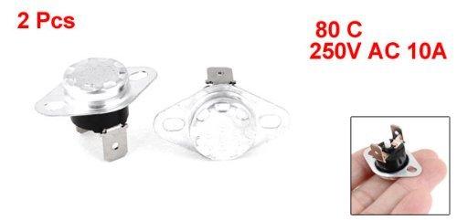 DealMux 2pcs Interruptor KSD301 80 cent/ígrados 250V CA 10A normal cerrado del termostato