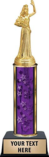 Crown Awards Beauty Queen Trophies, Personalized Purple Beauty Queen Waiving Trophy with Custom Engraving Prime