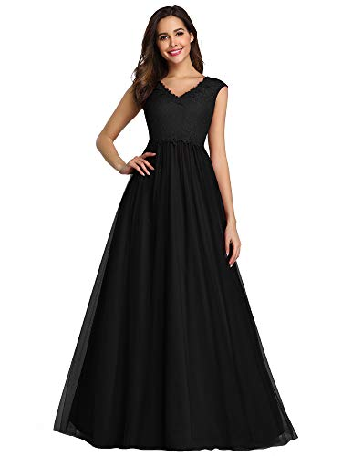 Women's A-Line Floral Lace Wedding Guest Dress Evening Gowns Black US4