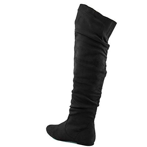 DailyShoes Damenmode-Hi Over-the-Knee Oberschenkel Hohe flache Slouchly Welle Low Heel Stiefel Schwarzes Wildleder
