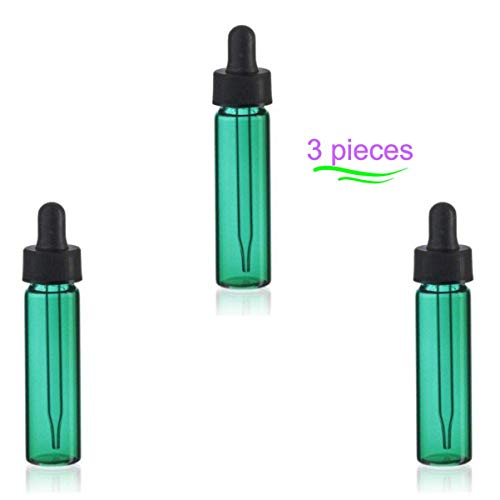 MagnaKoys 2 Dram 1/4 oz Emerald Green Glass Vials w/Straight Black Bulb Glass Eyedroppers for Essential Oils & Liquids (Pack of 3)
