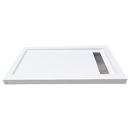 WoodBridge SBR6032S Reversible Acrylic Shower Base With Recessed Trench Side Drain, including Stainless Steel Linear Drain Cover With Brushed Nickel Finish. Base size: 60
