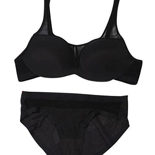 iHPH7 Women's Spot Comfort Full-Support Sport Bra New Sports Bra Suit Sexy Ring-Less Bra Seamless Underwear Women Mesh Bra (85A,Black) ()