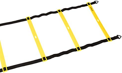 Adjustable Speed and Agility Training Set – Includes Agility Ladder, 10 Disc Cones, 4 Steel Stakes and a Drawstring Bag – For Speed, Coordination, Footwork, Explosiveness, Sport Training, Yellow