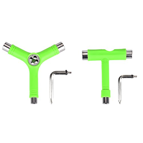 (Alouette Skate Tool Set of 2,All-in-One Multifunctional Portable T-Tool&Y-Tool for Skateboard (Green))