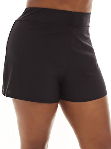 Always For Me Women's Plus Size Mid Waisted Swim Shorts - Ladies' Bathing Suit & Swimwear - Black - Short, 24 Plus by Always For Me