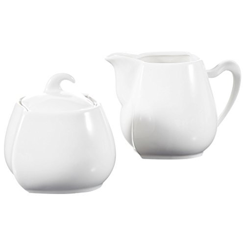 Malacasa, Series Elvira, Ivory White Porcelain Sugar and Creamer Set for Coffee and Tea, Set of 3