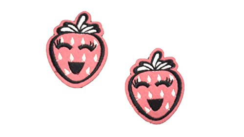 2 pieces PINK STRAWBERRY Iron On Patch Felt Fabric Applique Fruit Food Motif Children Decal 2.6 x 2.1 inches (6.5 x 5.5 cm)