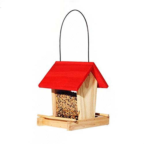 Wooden Hanging Bird Table Wild Seed Feeding Station Outdoor Mixed Blends, Anti-UV Paint Glass Observable Food Surplus