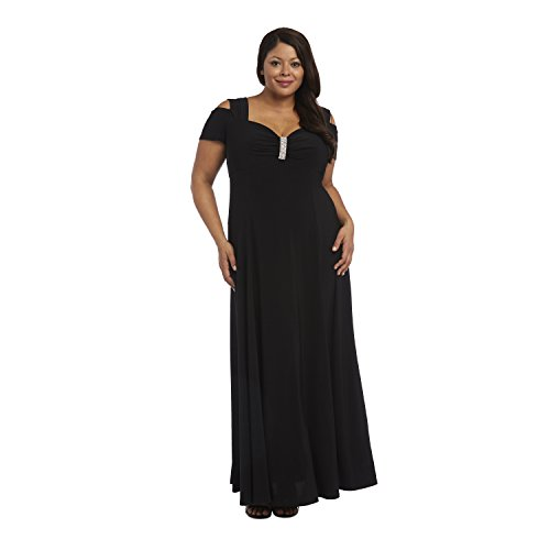 Plus Size Long Formal Dress Black Evening Gown Stretchy